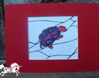 SMALL TURTLE DRAWING - Original 5 by 7 Inch Matted Ink Drawing Artwork - Colorful Blue & Red Tortoise in Red Mat, Turtles Tortoises Art Pic