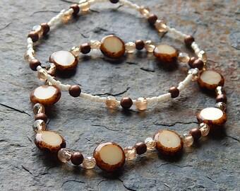 Stacking bracelets - bracelet set - copper and cream  bracelets - Picasso czech glass bracelet - stretch bracelet set - jewelry set - boho