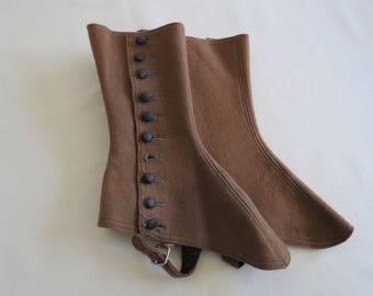 Pair of Antique Brown Wool Felt Spats - 10 Button Edwardian Victorian Hosiery