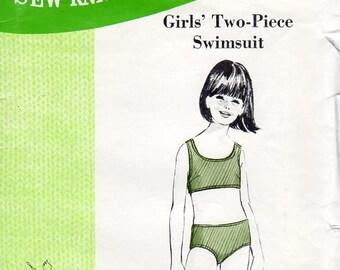 1960s Girls Two Piece Swimsuit - Vintage Pattern Sew Knit N Stretch 157 - Size 8 10 12