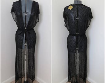 40s/50s Black Chantilly Lace French Robe - Juventa Lingerie - B36 Has original tags