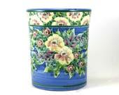 Ceramic Utensil Holder - Decorative Botanical Country Design - Wide Mouth Spoon Jar, Caddy or Vase