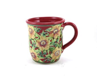 Red Porcelain Coffee Mug - Ceramic Floral Tea Cup - Rich Backround with Flowers -  Hand-Thrown Bisque Fired and Glazed
