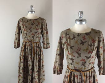 1960s Butterfly Flight / 60s Cotton Print Dress