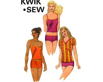 Kwik Sew 2868 Womens Tankini Swimsuit Bikini & Swim Shirt Sewing Pattern Sizes XS - XL Plus Size or any size Swimwear UNCUT
