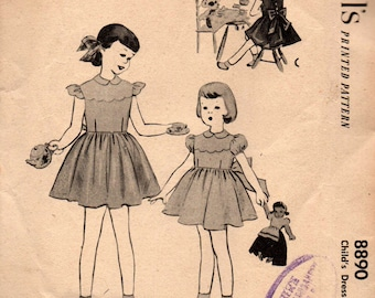 McCall's 8890 Toddler Girls Full Skirt Party Special Occasion Flower Girl Dress 50s Vintage Sewing Pattern Size 3 Breast 22 Inches