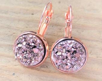 Rose Gold Druzy Earrings, Faux Drusy Leverback Earrings, 12mm Round Rose Gold Earrings, Bridesmaid Druzy Earrings, Bridal Wedding, Gift