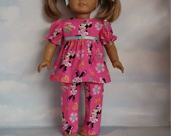 18 inch doll clothes - Minnie Mouse Pajamas handmade to fit the American Girl Doll - FREE SHIPPING USA