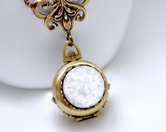 White Opal Locket Necklace, 4 Picture Locket, 4 Photo Locket, White Opal Necklace, Four Way, Antique Brass, Vintage Weddings, Bridal Locket