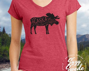 Alaska Shirt,  Alaska T-shirt, Alaska State Shirt, Moose Shirt, Ladies' V-Neck T-Shirt