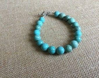 Turquoise bracelet, stone bracelet, beaded bracelet, handmade bracelet, handmade gift, blue bracelet, gift for a women, womens gift