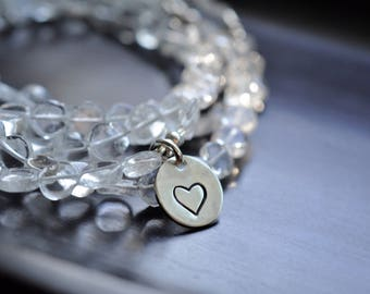 Clear Smooth Quartz Bracelets, Add A Charm, Sterling Silver
