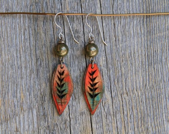 PETIT WINDS / Wood Earrings / Women's Jewelry / Gifts For Her / Sustainable / Earrings / Acrylic Painting / Art / Art Jewelry