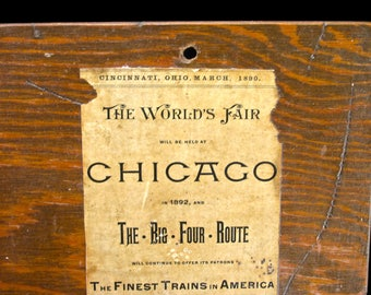 Antique Worlds Fair Chicago Columbian Exposition Newspaper Ad Clippings on Wood Board - Trains - Ice Cream - The Big Four Route