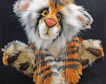 Bandhu the Tiger. A mohair and Faux Fur Artist Bear By Bears of Bath  10.5 inches