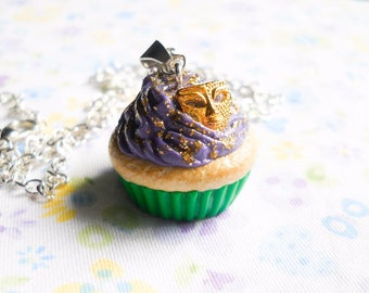 Mardis Gras Cupcake Necklace / Charm Necklace / Food Necklace / Cute Necklace / Polymer Clay / Sweet lolita / Necklace