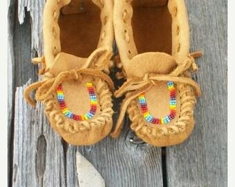 ON SALE Children's leather moccasins , Beaded moccasins , leather moccasins , custom designed moccasins , children's gift , handma