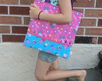 Peppa Pig Crayon Tote- Girls Crayon Tote - Kids Crayon Tote - School Tote - Toddler Tote - Peppa Pig Tote - Handmade