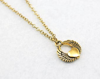 Gold Winged Heart Necklace - Gold Flying Heart Necklace, Gold Heart Necklace, Gold Wing Necklace, Wings Necklace, Valentine's Day
