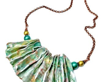Mint Green Statement Necklace, Repurposed, Recycled, Upcycled, Fiber Art Jewelry, Mint Necklace, Artsy