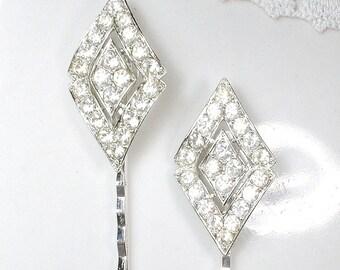OOAK 1920s Art Deco Rhinestone Bridal Hair Pins, Vintage Flapper Jeweled Silver Hair Accessories, Bobby Pin PAIR Something Old Hair Clips