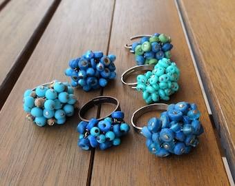 Blue Beaded Rings - Summer Rings - Beach Rings