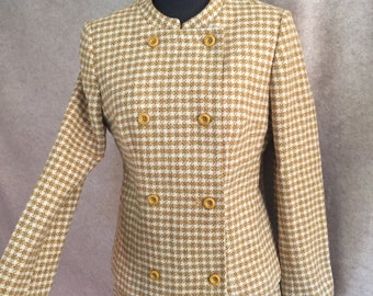 Vintage 60's Skirt Suit, Plaid Jacket and Skirt, Yellow and White Fitted Suit, Vintage Wool Plaid Suit, Women's Small, Bust 36, Waist 26
