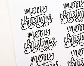 Shop Exclusive - Set of 50 hand lettered MERRY CHRISTMAS stickers - holiday stickers for gift tags, Christmas cards, presents