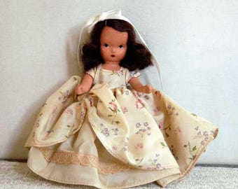 Nancy Ann Storybook Doll, Fairyland Doll, Beauty and the Beast #156, Jointed Head Arms Legs, Vintage 1940s, Hard Plastic, Made in U.S.A.