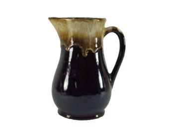 "Vintage Brown Drip Glaze Roseville USA Pottery Water Milk Pitcher  7"" Tall"