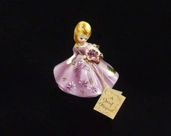 Vintage February Josef Original Porcelain Lady Birthday Purple Figurine Amethyst Birthstone with Hang Tag and Paper Label