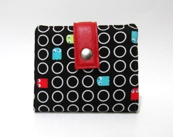 Handmade half size wallet - Video game - PacMan - red with small white dots - ID clear pocket - gift for her - small and slim wallet
