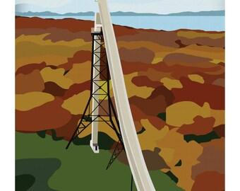 Vintage Inspired Travel Poster of Copper Peak in Ironwood, MI