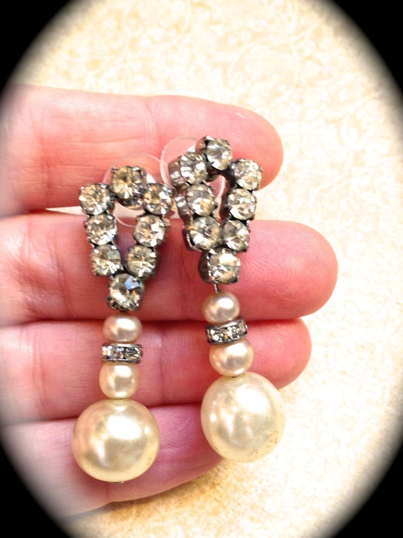 Art Deco Rhinestone Earrings bridal Vintage Pearl Earrings