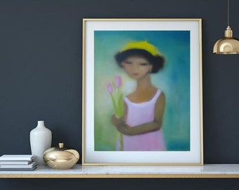 """Teal pink turquoise art, Abstract oil  Portrait oil on canvas teal blue pink yellow 24""""x30"""" girl in pink dress with tulips and yellow hat"""