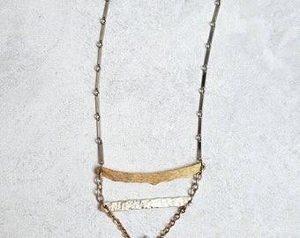 Geometric Pale Blue Periwinkle Natural Gemstone Teardrop Pendant Mixed Metal Vintage Assemblage Necklace