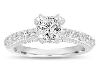 0.82 Carat Diamond Engagement Ring, Bridal Ring, GIA Certified Wedding Ring 14K White Gold Vintage Style Unique Handmade
