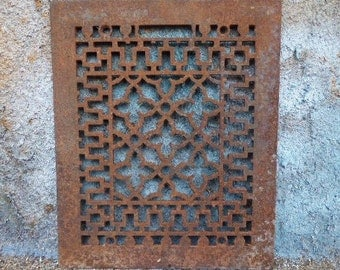 Antique Cast iron Metal Grate Floor Wall  Architectural salvage Nouveau Gothic Decorative