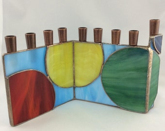Primary colors and Circles Geometric Abstract Stained Glass Chanukah Menorah