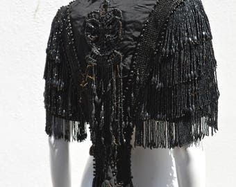 Victorian Black Jet Beaded Fringe Mourning Mantle Dolman Cape jet black glass beads hand beaded steampunk edwardian cape silk