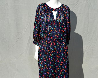 Vintage 80's TED LAPIDUS multicolor polka dot polyester dress size 42 MINT condition wrap style boho dress by thekaliman