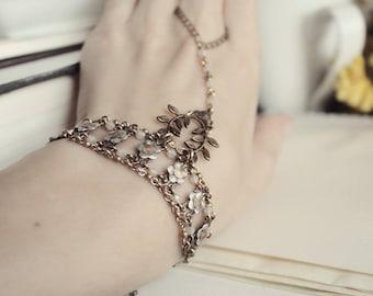 Brass & Silver Swarovski Bracelet - Sand Opal - Floral - Romantic Winter Wedding - Bridal - Holidays - December - Christmas