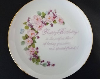 Lasting Memories Happy Birthday plate - 6.25 inch, Grandma