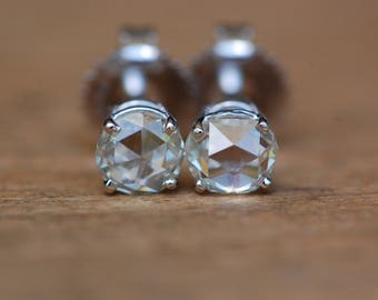 Antique .76 carat rose cut diamond 14K stud earrings