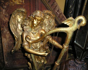 Devotional Detailed Gold gilt Musical Harp Playing Winged Holiday Angel/Cherub Statue Fab.