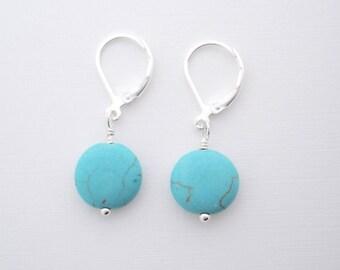 Turquoise Earrings - dainty earrings, leverback earrings, everyday earrings, minimalist jewelry, lightweight earrings, dyed Howlite