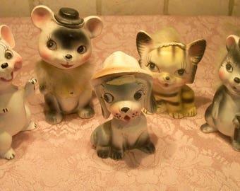 VINTAGE Made in Japan 1950's Animal Firguries Set of FIVE