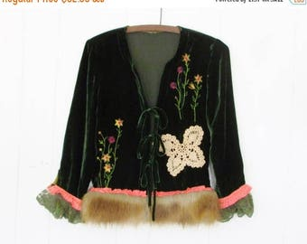 MOVING SALE Cersei Throne Jacket,Green Velvet,Eco Altered Faux Fur & Silk Trim,Crochet Butterfly,Embroidered Flowers by Hollywood Hillbilly