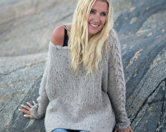 KNITTING PATTERN - River Braid Sweater - English Written Pattern for Cable Knit Sweater  - One Size - Direct Download PDF