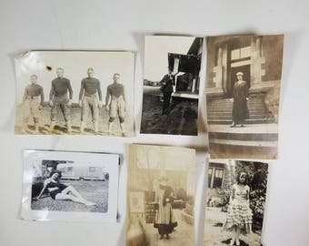 Collection of 6 Vintage Photographs Early 1800's Early 1900's Football Soldier Swimsuit Flapper